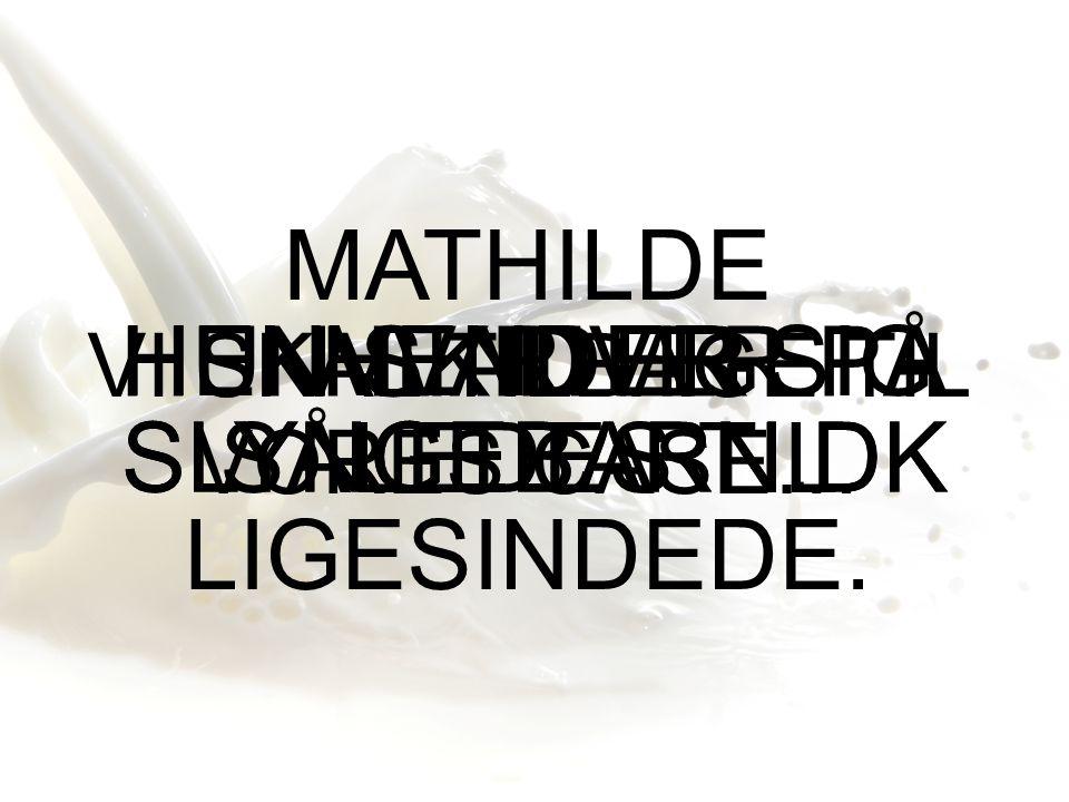 VI SKAL TILBAGE TIL VORES CASE… MATHILDE HENVENDER SIG SÅLEDES TIL LIGESINDEDE.
