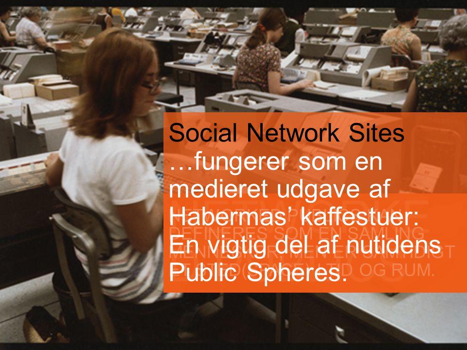 NETWORKE D PUBLICS NETWORKED PUBLICS KAN DEFINERES SOM EN SAMLING MENNESKER, MEN ER SAMTIDIGT ET STED(SPACE) I TID OG RUM.