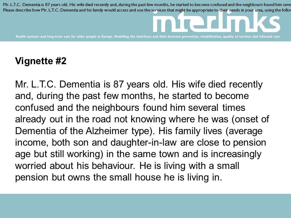 Vignette #2 Mr. L.T.C. Dementia is 87 years old.