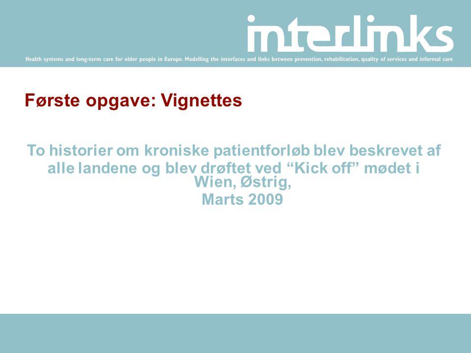 Første opgave: Vignettes To historier om kroniske patientforløb blev beskrevet af alle landene og blev drøftet ved Kick off mødet i Wien, Østrig, Marts 2009