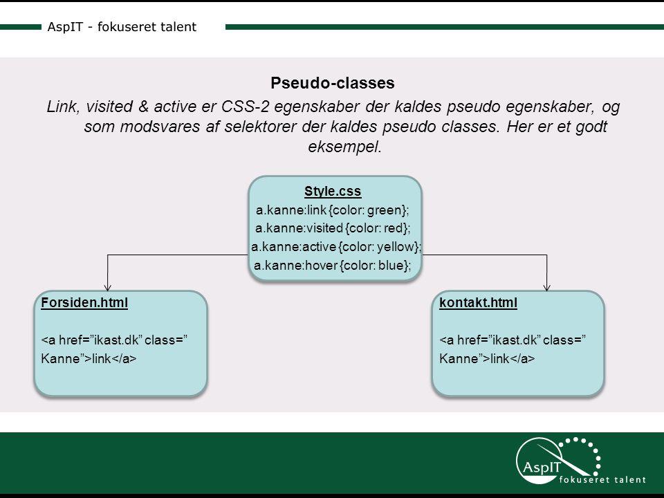 Pseudo-classes Link, visited & active er CSS-2 egenskaber der kaldes pseudo egenskaber, og som modsvares af selektorer der kaldes pseudo classes.