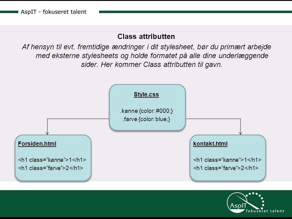 Class attributten Af hensyn til evt.