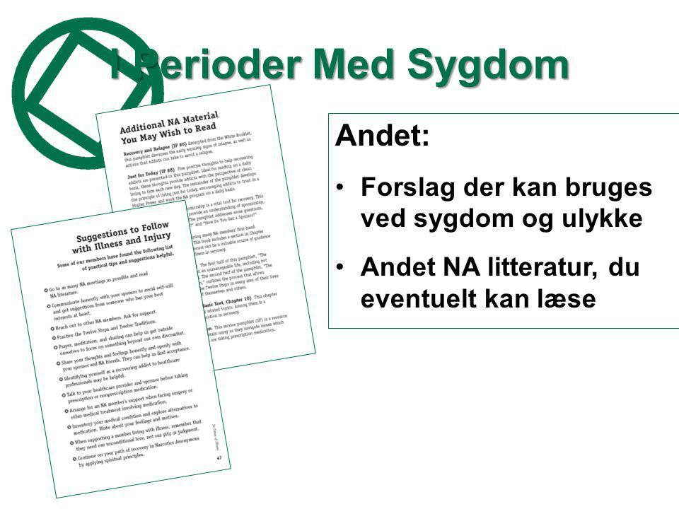 I Perioder Med Sygdom Andet: •Forslag der kan bruges ved sygdom og ulykke •Andet NA litteratur, du eventuelt kan læse
