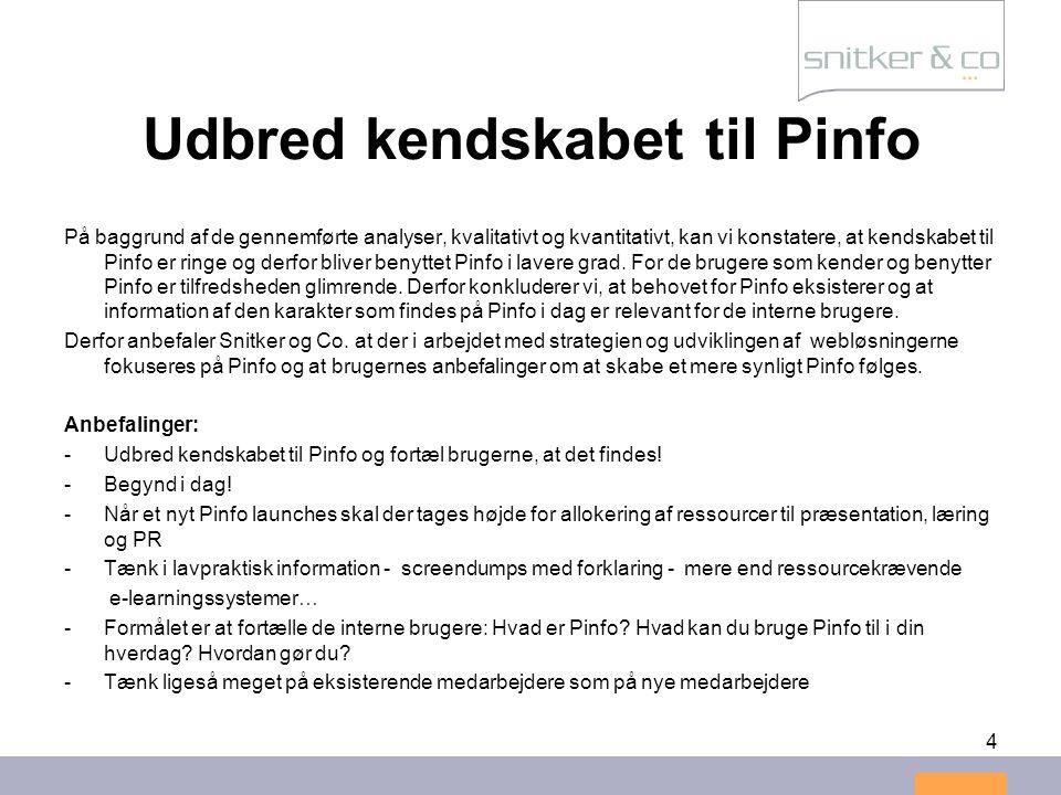 4 Udbred kendskabet til Pinfo På baggrund af de gennemførte analyser, kvalitativt og kvantitativt, kan vi konstatere, at kendskabet til Pinfo er ringe og derfor bliver benyttet Pinfo i lavere grad.