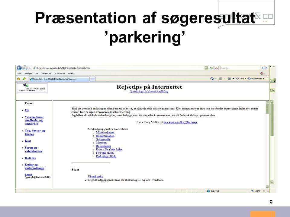 9 Præsentation af søgeresultat 'parkering'