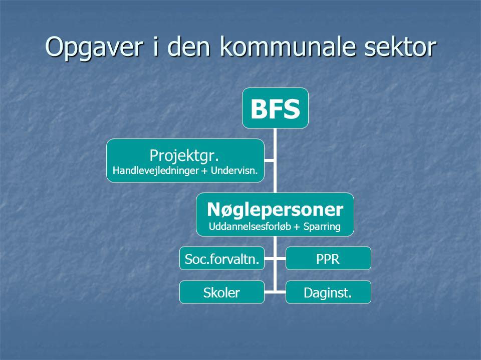 Opgaver i den kommunale sektor BFS Nøglepersoner Uddannelsesforløb + Sparring Soc.forvaltn.PPR SkolerDaginst.