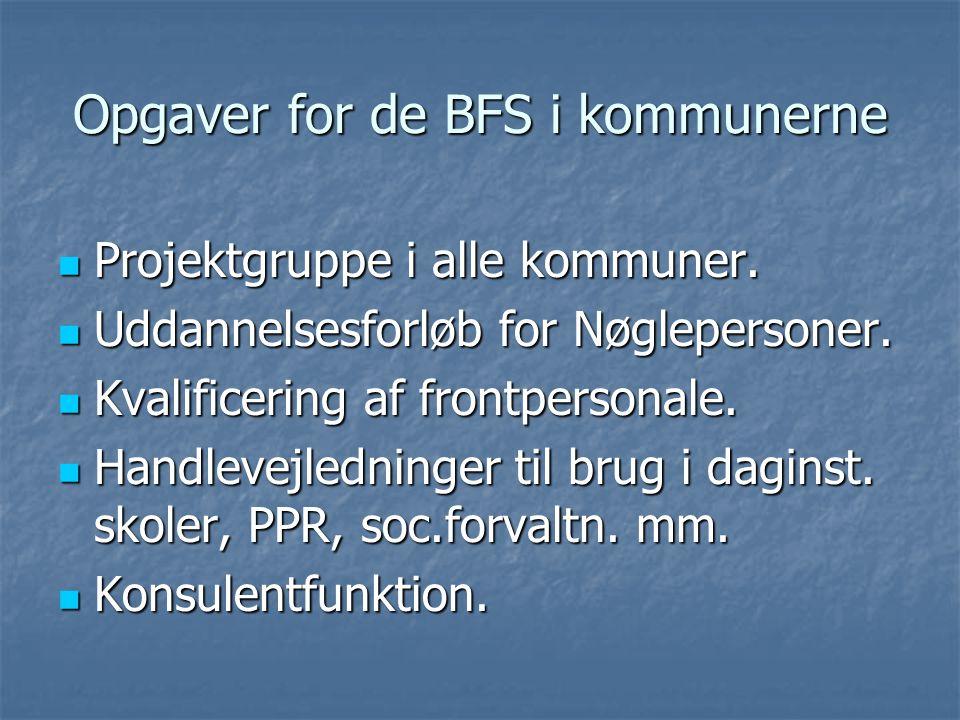 Opgaver for de BFS i kommunerne  Projektgruppe i alle kommuner.