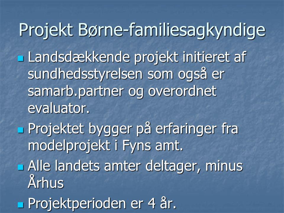 Projekt Børne-familiesagkyndige  Landsdækkende projekt initieret af sundhedsstyrelsen som også er samarb.partner og overordnet evaluator.
