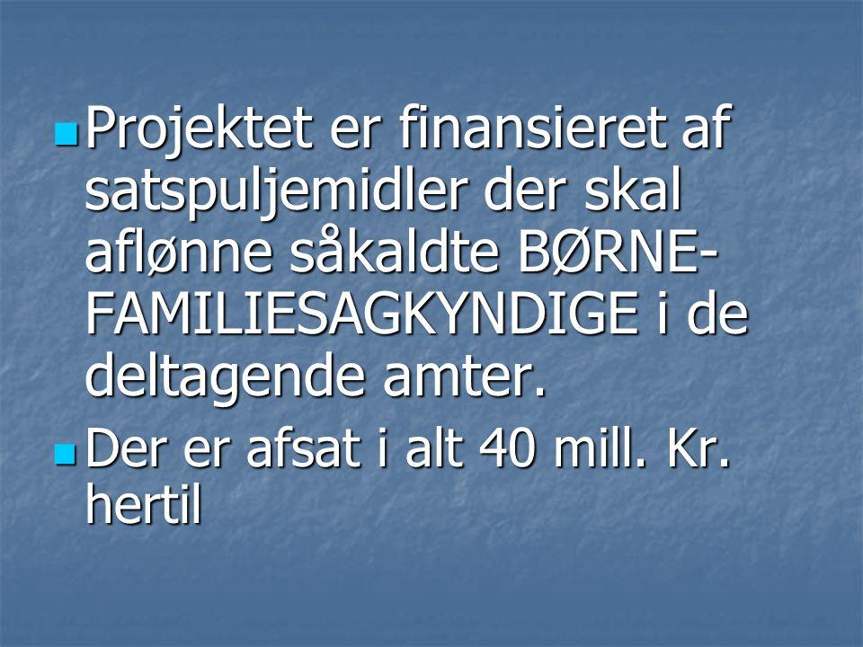  Projektet er finansieret af satspuljemidler der skal aflønne såkaldte BØRNE- FAMILIESAGKYNDIGE i de deltagende amter.