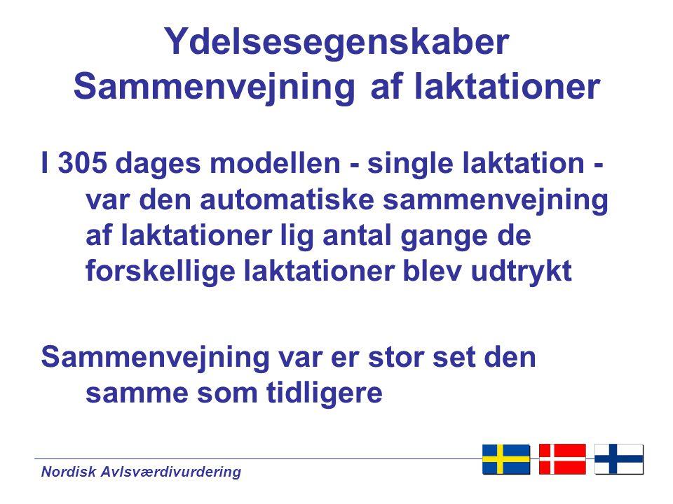 Nordisk Avlsværdivurdering Ydelsesegenskaber Sammenvejning af laktationer I 305 dages modellen - single laktation - var den automatiske sammenvejning af laktationer lig antal gange de forskellige laktationer blev udtrykt Sammenvejning var er stor set den samme som tidligere