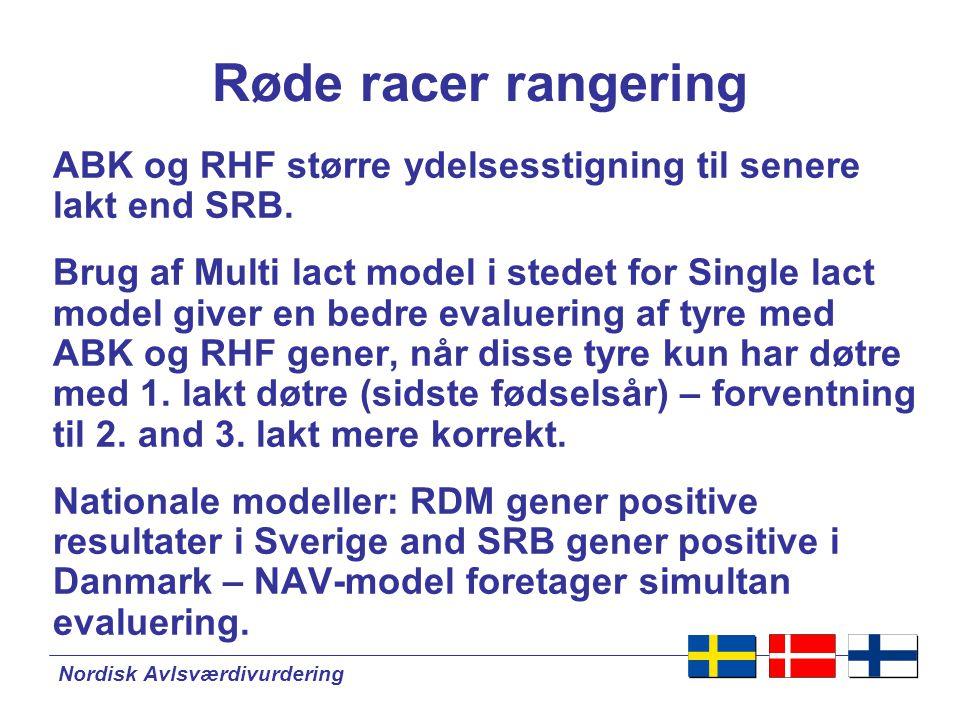 Nordisk Avlsværdivurdering Røde racer rangering ABK og RHF større ydelsesstigning til senere lakt end SRB.