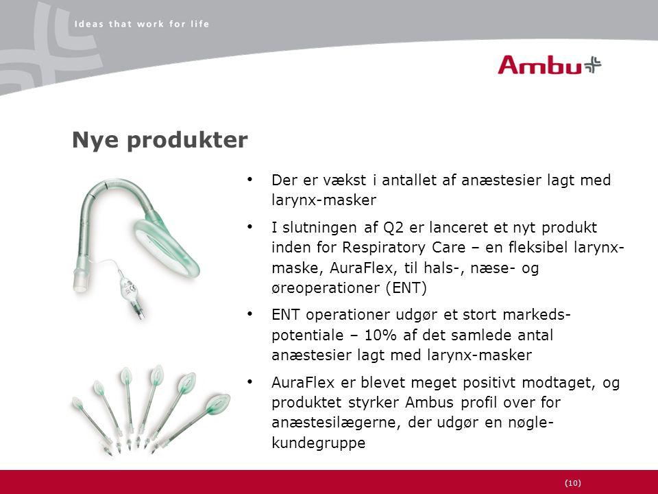 (10) Nye produkter • Der er vækst i antallet af anæstesier lagt med larynx-masker • I slutningen af Q2 er lanceret et nyt produkt inden for Respiratory Care – en fleksibel larynx- maske, AuraFlex, til hals-, næse- og øreoperationer (ENT) • ENT operationer udgør et stort markeds- potentiale – 10% af det samlede antal anæstesier lagt med larynx-masker • AuraFlex er blevet meget positivt modtaget, og produktet styrker Ambus profil over for anæstesilægerne, der udgør en nøgle- kundegruppe