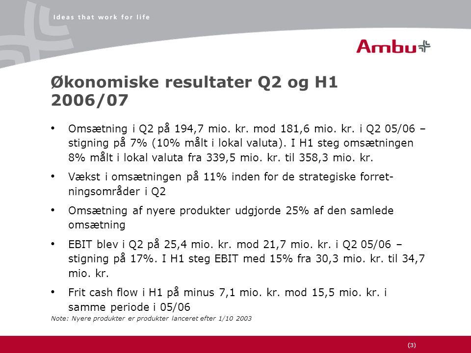 (3) Økonomiske resultater Q2 og H1 2006/07 • Omsætning i Q2 på 194,7 mio.