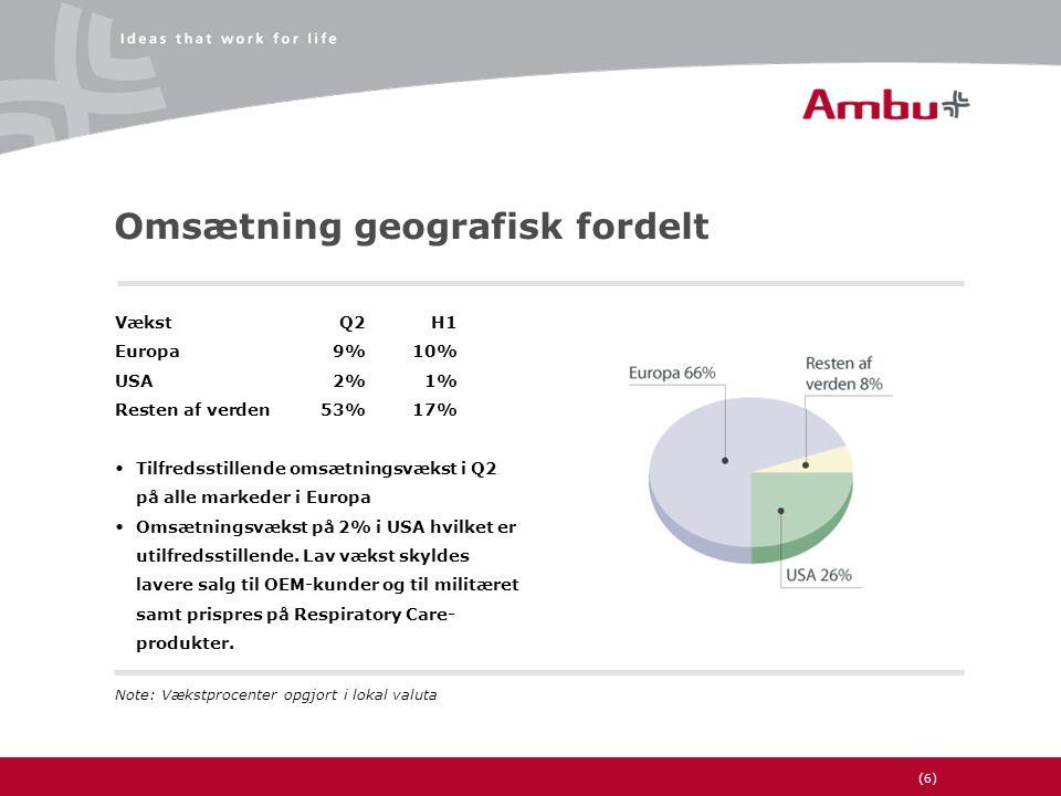 (6) Omsætning geografisk fordelt VækstQ2H1 Europa9%10% USA2%1% Resten af verden53%17% •Tilfredsstillende omsætningsvækst i Q2 på alle markeder i Europa •Omsætningsvækst på 2% i USA hvilket er utilfredsstillende.
