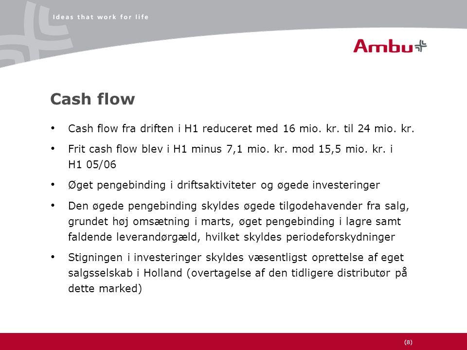 (8) Cash flow • Cash flow fra driften i H1 reduceret med 16 mio.