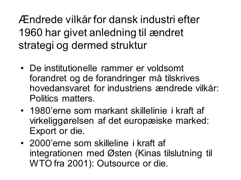 Ændrede vilkår for dansk industri efter 1960 har givet anledning til ændret strategi og dermed struktur •De institutionelle rammer er voldsomt forandret og de forandringer må tilskrives hovedansvaret for industriens ændrede vilkår: Politics matters.