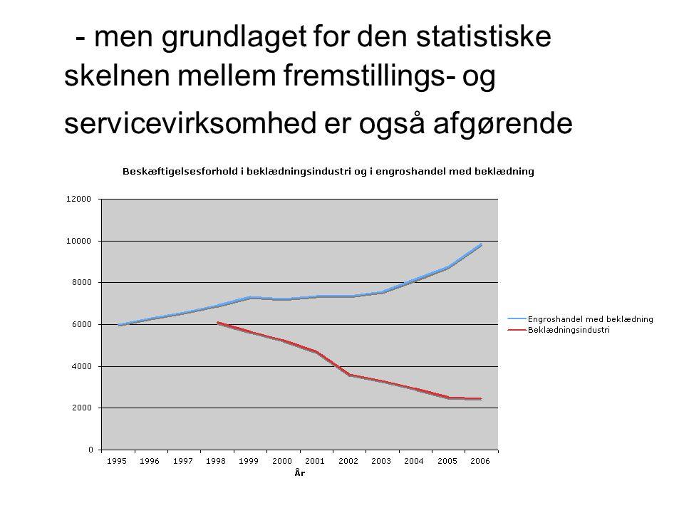 - men grundlaget for den statistiske skelnen mellem fremstillings- og servicevirksomhed er også afgørende