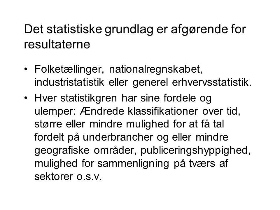 Det statistiske grundlag er afgørende for resultaterne •Folketællinger, nationalregnskabet, industristatistik eller generel erhvervsstatistik.