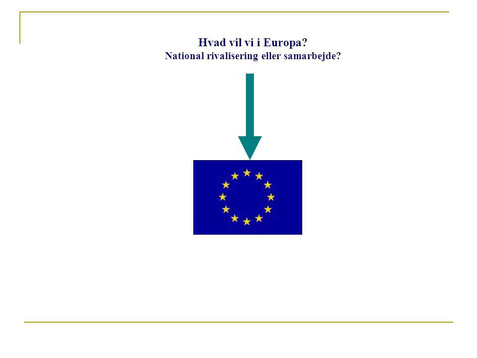Hvad vil vi i Europa National rivalisering eller samarbejde