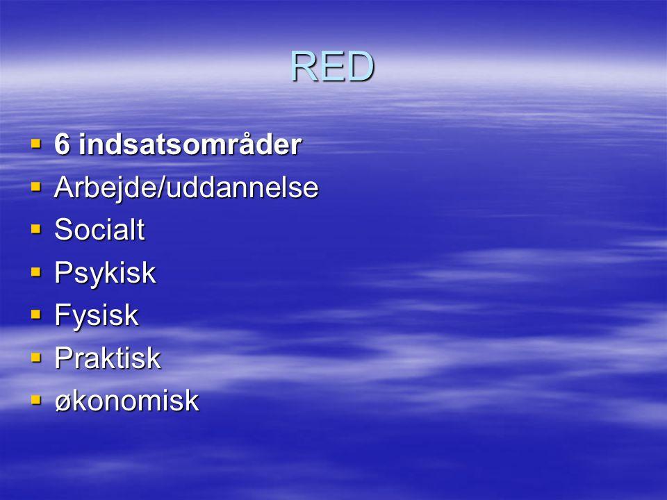 RED  6 indsatsområder  Arbejde/uddannelse  Socialt  Psykisk  Fysisk  Praktisk  økonomisk