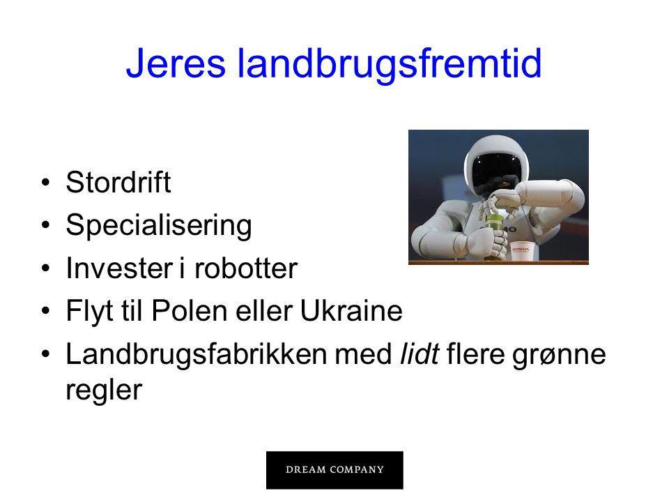 Jeres landbrugsfremtid •Stordrift •Specialisering •Invester i robotter •Flyt til Polen eller Ukraine •Landbrugsfabrikken med lidt flere grønne regler