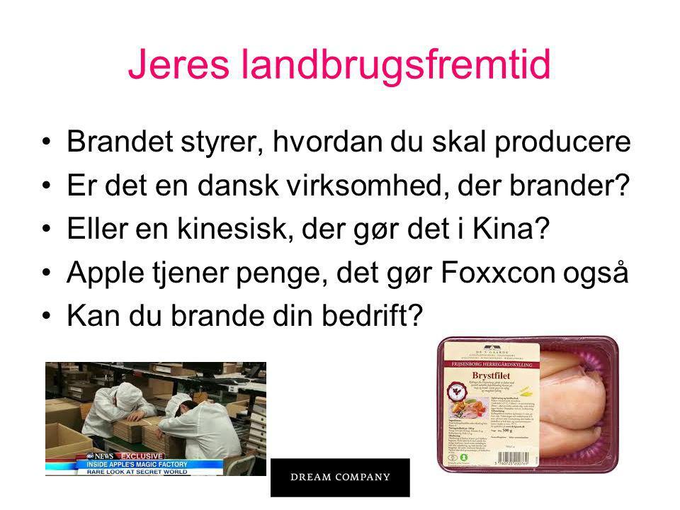 Jeres landbrugsfremtid •Brandet styrer, hvordan du skal producere •Er det en dansk virksomhed, der brander.