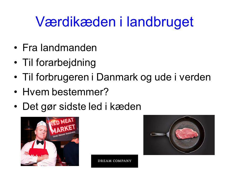 Værdikæden i landbruget •Fra landmanden •Til forarbejdning •Til forbrugeren i Danmark og ude i verden •Hvem bestemmer.