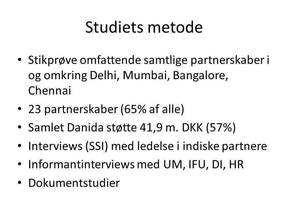 Studiets metode • Stikprøve omfattende samtlige partnerskaber i og omkring Delhi, Mumbai, Bangalore, Chennai • 23 partnerskaber (65% af alle) • Samlet Danida støtte 41,9 m.