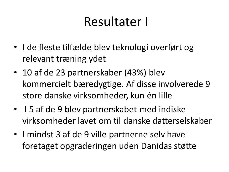 Resultater I • I de fleste tilfælde blev teknologi overført og relevant træning ydet • 10 af de 23 partnerskaber (43%) blev kommercielt bæredygtige.