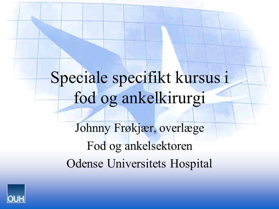 Hoftefrakturer i Fyns Amt 1997 Speciale specifikt kursus i fod og ankelkirurgi Johnny Frøkjær, overlæge Fod og ankelsektoren Odense Universitets Hospi