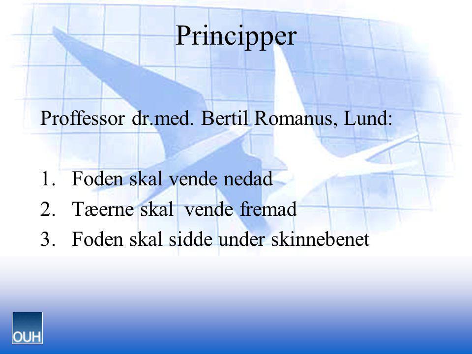 Principper Proffessor dr.med. Bertil Romanus, Lund: 1.Foden skal vende nedad 2.Tæerne skal vende fremad 3.Foden skal sidde under skinnebenet