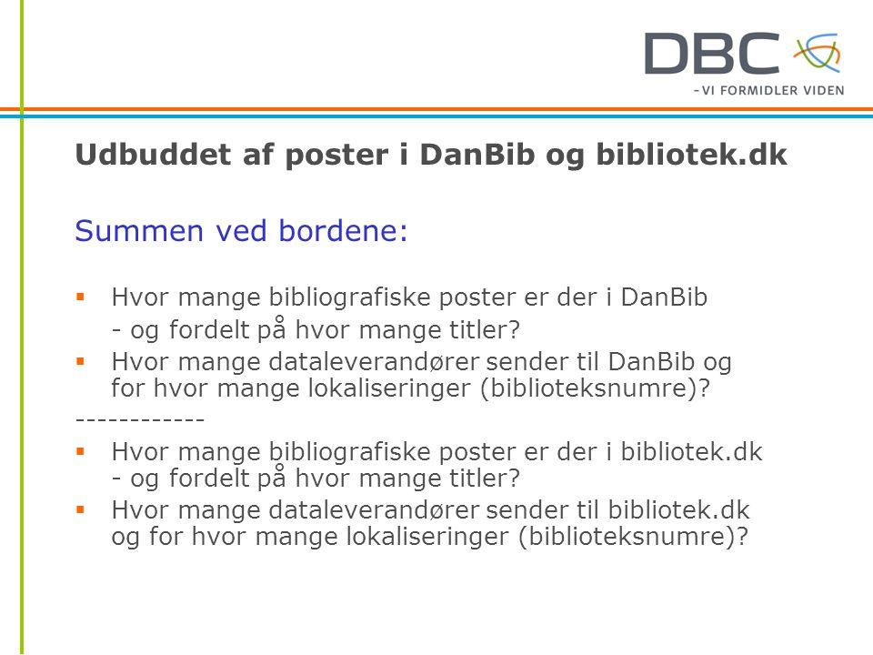 Udbuddet af poster i DanBib og bibliotek.dk Summen ved bordene:  Hvor mange bibliografiske poster er der i DanBib - og fordelt på hvor mange titler.
