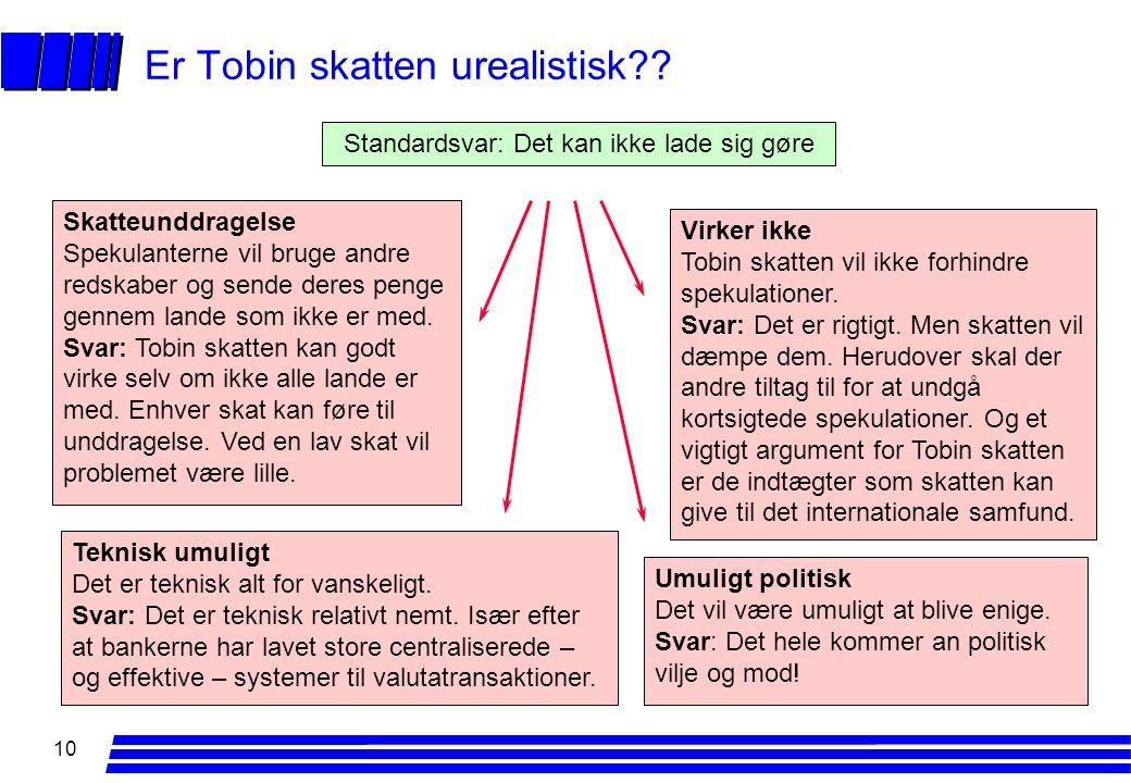 10 Er Tobin skatten urealistisk .