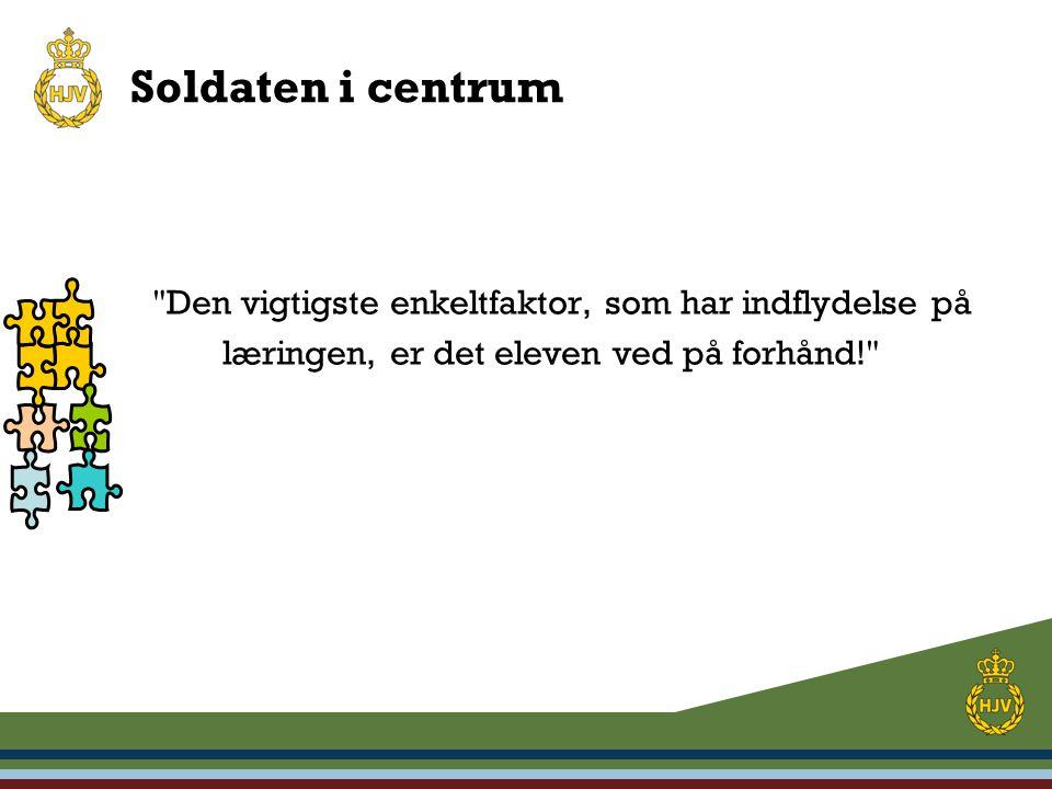 Soldaten i centrum Den vigtigste enkeltfaktor, som har indflydelse på læringen, er det eleven ved på forhånd!