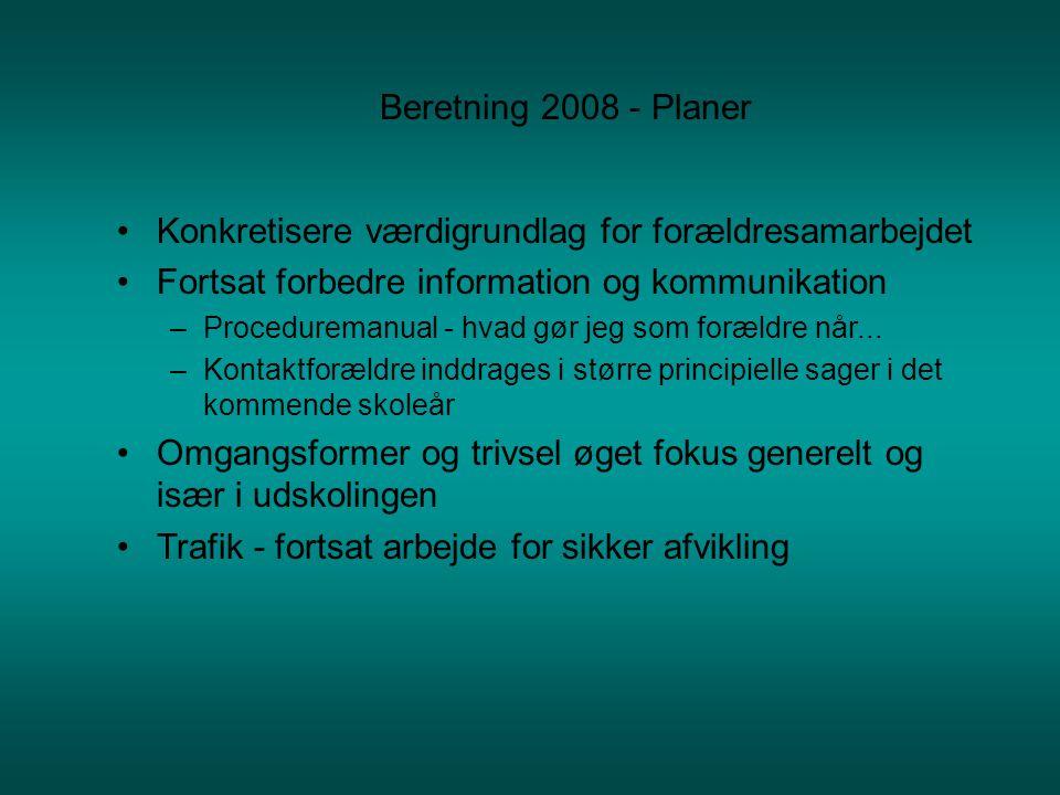 Beretning 2008 - Planer •Konkretisere værdigrundlag for forældresamarbejdet •Fortsat forbedre information og kommunikation –Proceduremanual - hvad gør jeg som forældre når...