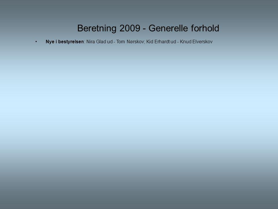 Beretning 2009 - Generelle forhold •Nye i bestyrelsen: Nira Glad ud - Tom Nørskov; Kid Erhardt ud - Knud Elverskov