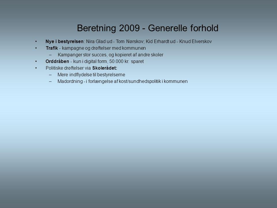 Beretning 2009 - Generelle forhold •Nye i bestyrelsen: Nira Glad ud - Tom Nørskov; Kid Erhardt ud - Knud Elverskov •Trafik - kampagne og drøftelser med kommunen –Kampanger stor succes, og kopieret af andre skoler •Orddråben - kun i digital form, 50.000 kr.