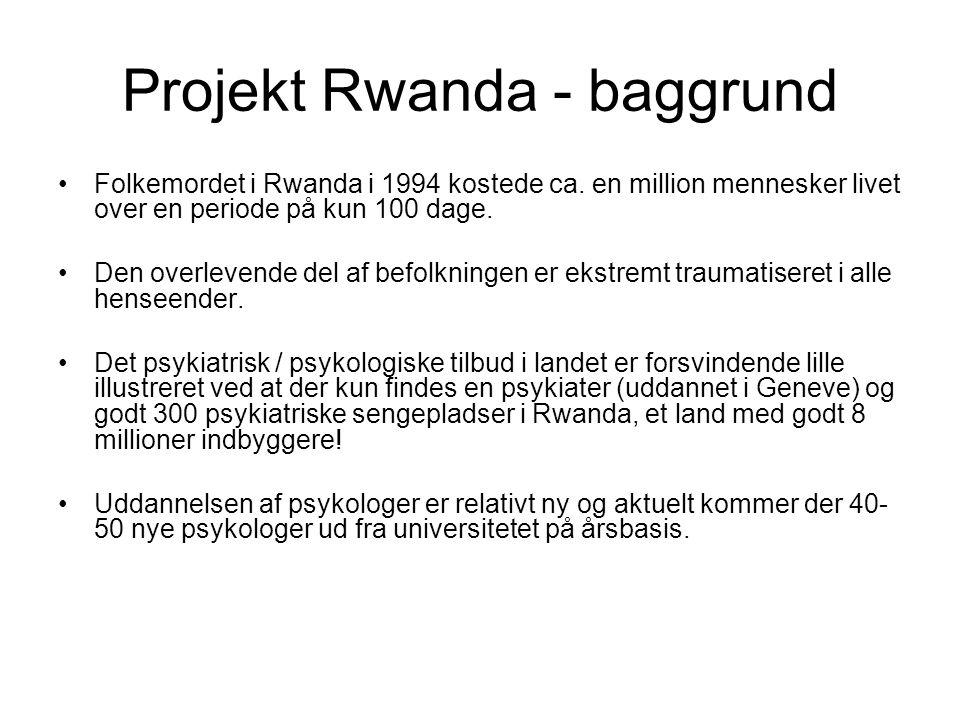 Projekt Rwanda - baggrund •Folkemordet i Rwanda i 1994 kostede ca.