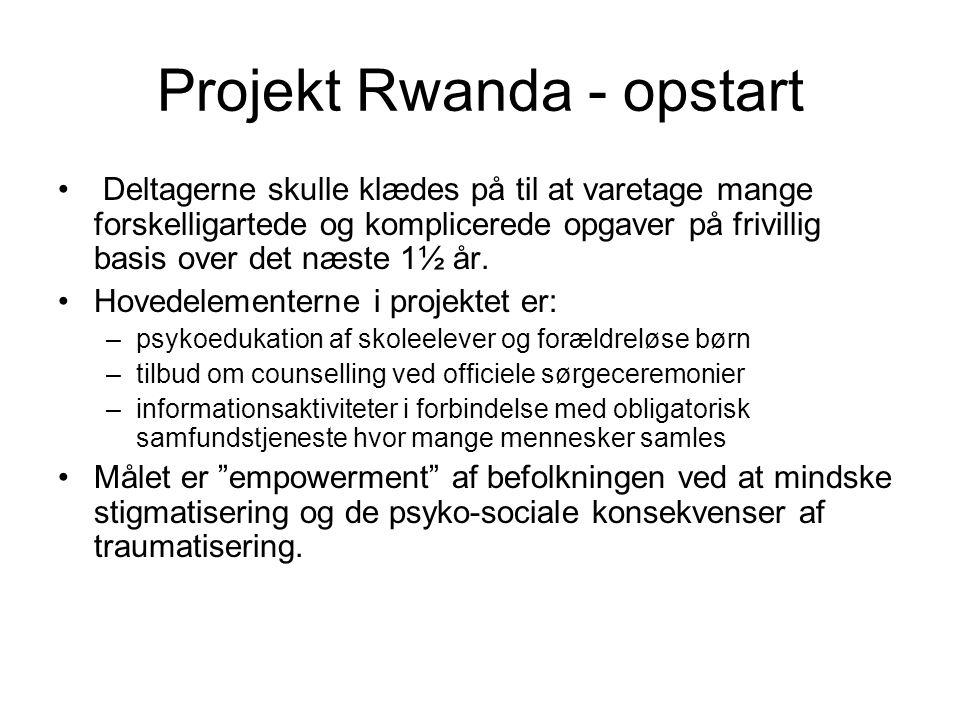 Projekt Rwanda - opstart • Deltagerne skulle klædes på til at varetage mange forskelligartede og komplicerede opgaver på frivillig basis over det næste 1½ år.