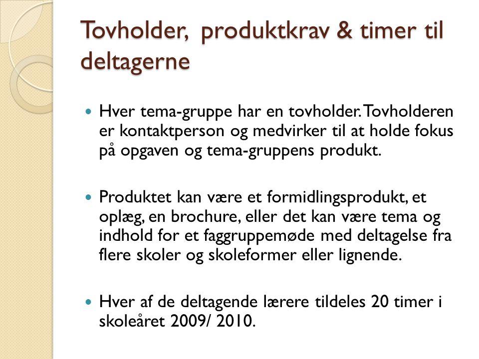 Tovholder, produktkrav & timer til deltagerne  Hver tema-gruppe har en tovholder.