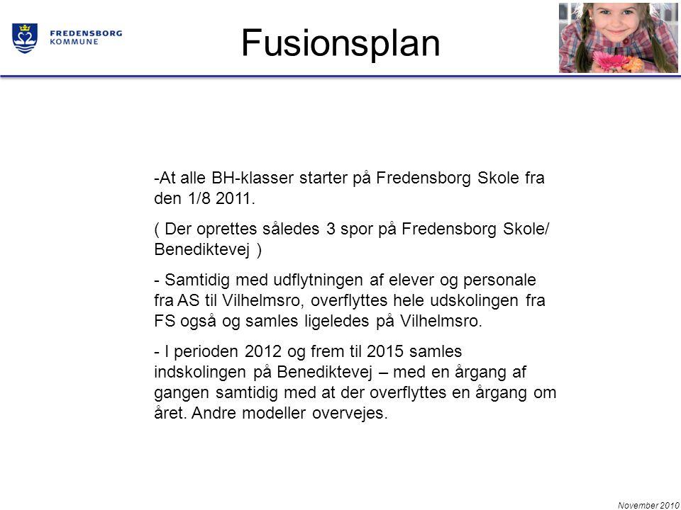 November 2010 Fusionsplan -At alle BH-klasser starter på Fredensborg Skole fra den 1/8 2011.