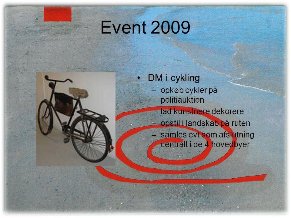 Event 2009 •DM i cykling –opkøb cykler på politiauktion –lad kunstnere dekorere –opstil i landskab på ruten –samles evt som afslutning centralt i de 4 hovedbyer