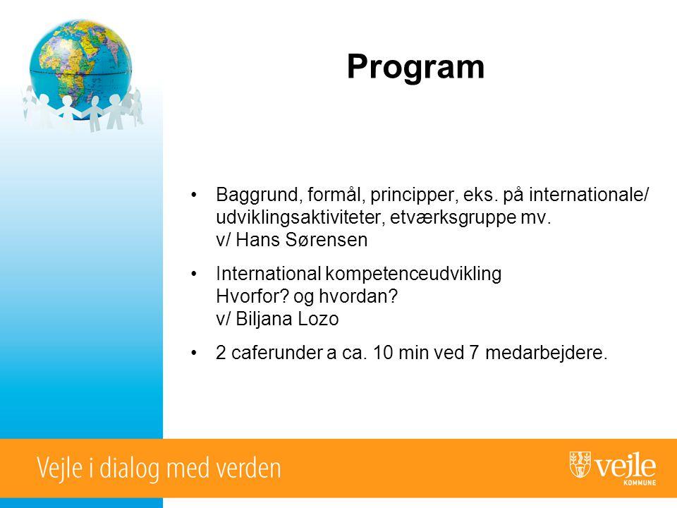 Program •Baggrund, formål, principper, eks.