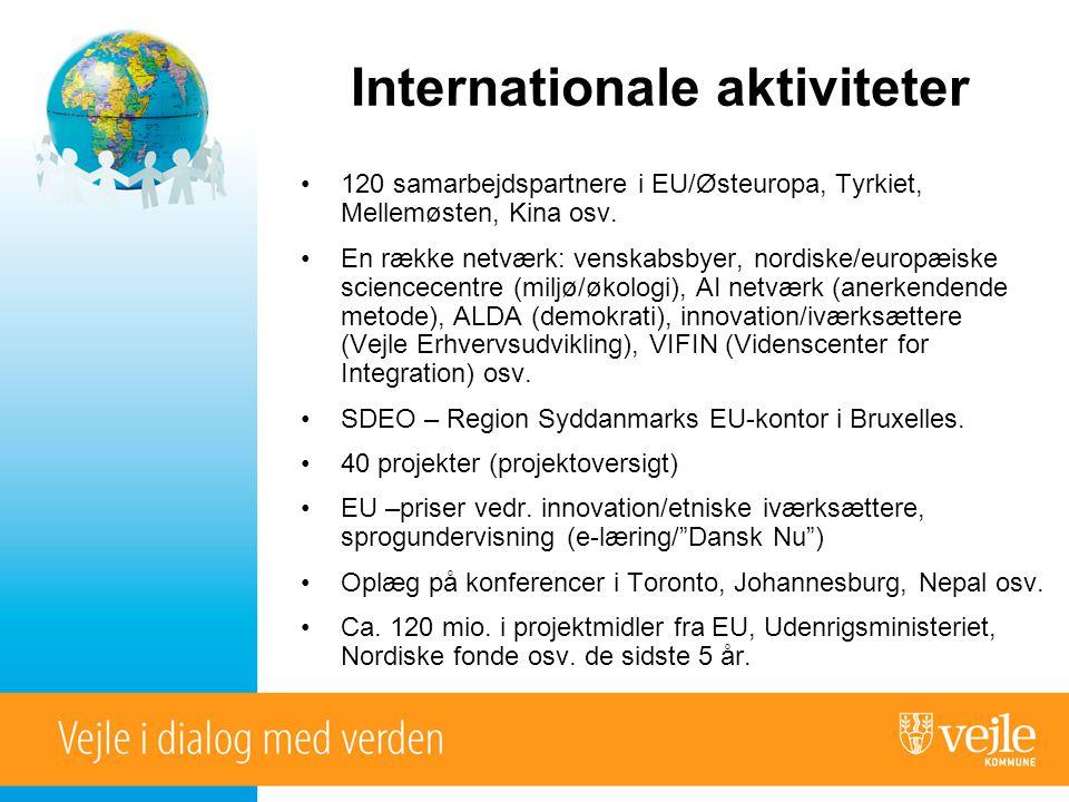 Internationale aktiviteter •120 samarbejdspartnere i EU/Østeuropa, Tyrkiet, Mellemøsten, Kina osv.