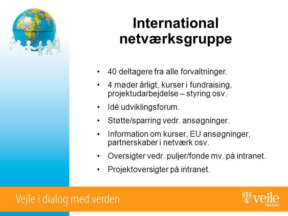 International netværksgruppe •40 deltagere fra alle forvaltninger.
