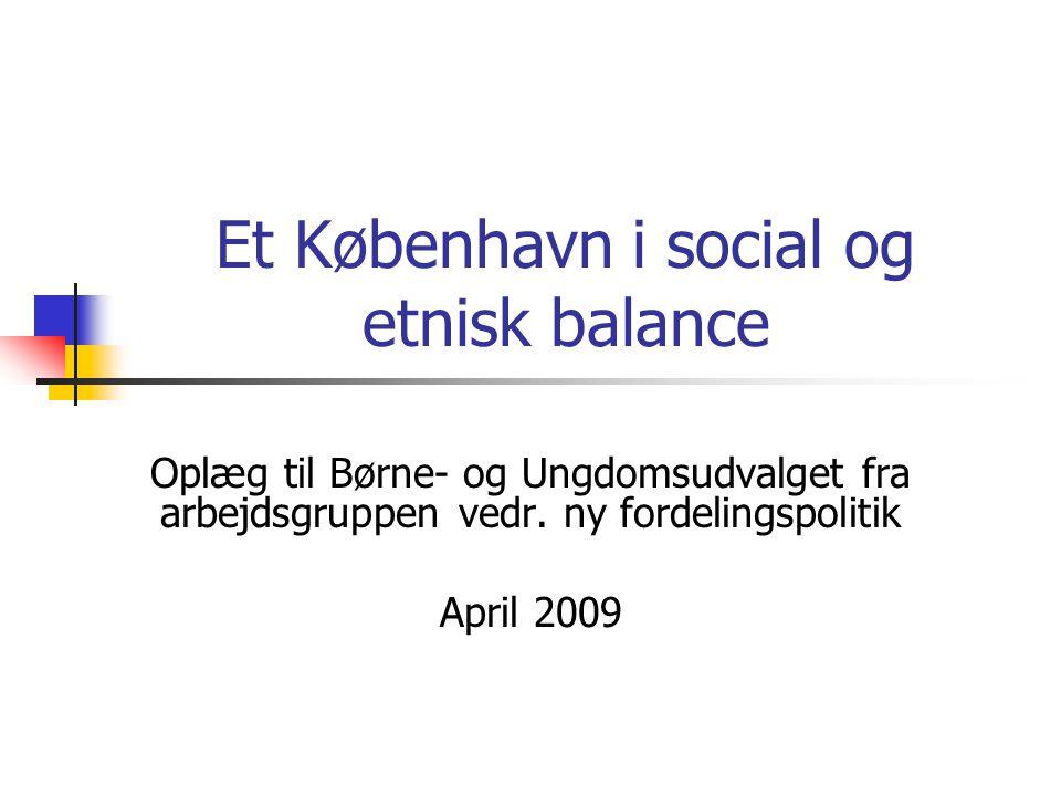 Et København i social og etnisk balance Oplæg til Børne- og Ungdomsudvalget fra arbejdsgruppen vedr.