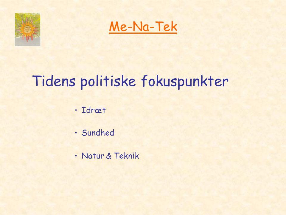 Me-Na-Tek Tidens politiske fokuspunkter •Idræt •Sundhed •Natur & Teknik