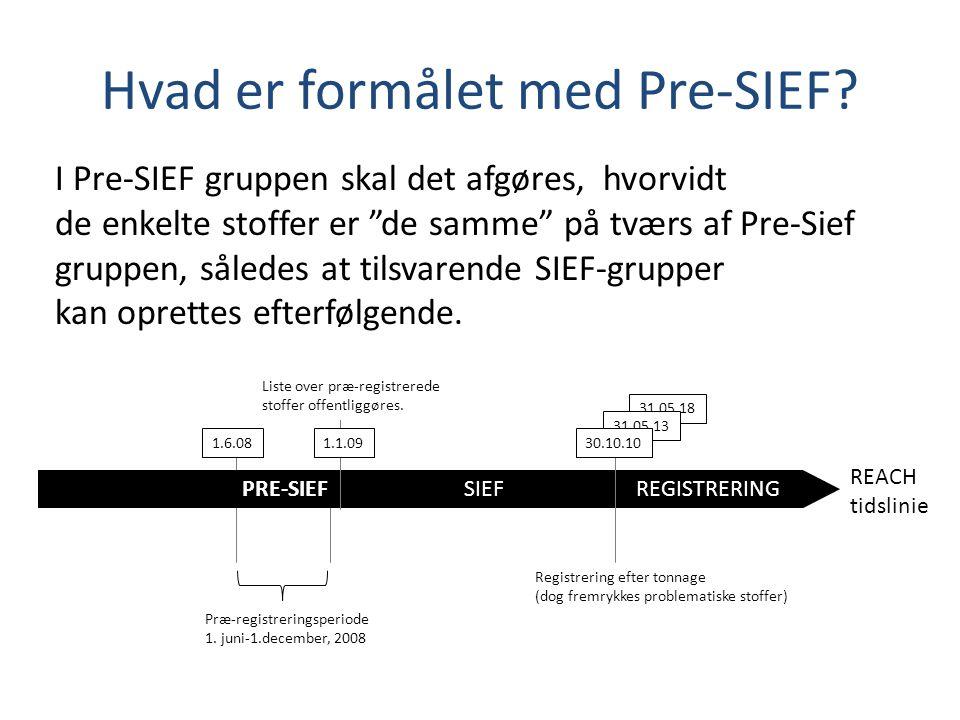 PRE-SIEF REACH tidslinie SIEF REGISTRERING 1.6.081.1.09 31.05.18 31.05.13 30.10.10 Hvad er formålet med Pre-SIEF.