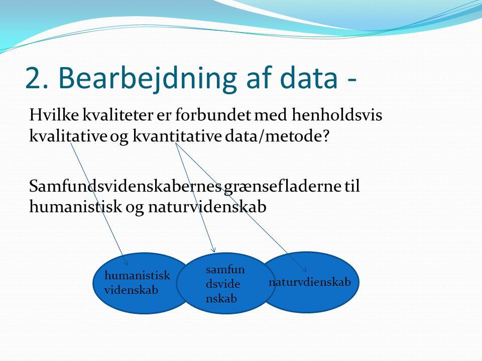 2. Bearbejdning af data - Hvilke kvaliteter er forbundet med henholdsvis kvalitative og kvantitative data/metode? Samfundsvidenskabernes grænsefladern