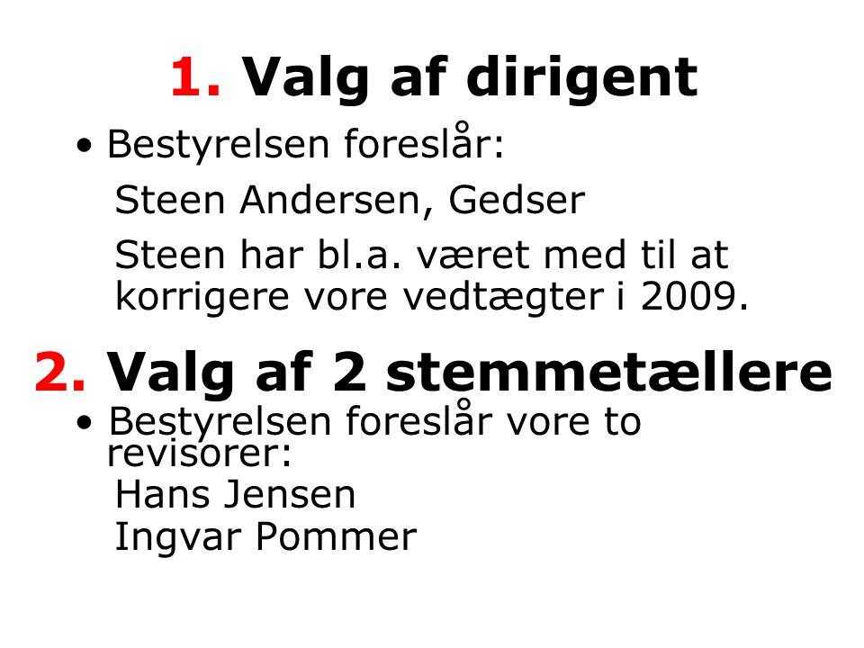 1. Valg af dirigent •Bestyrelsen foreslår: Steen Andersen, Gedser Steen har bl.a.